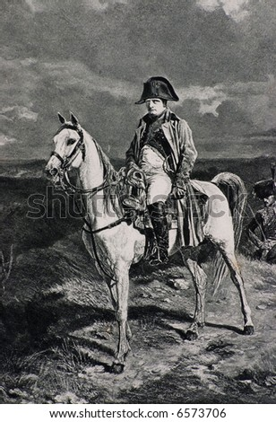 napoleon bonaparte on the horse  - antique lithographic portrait