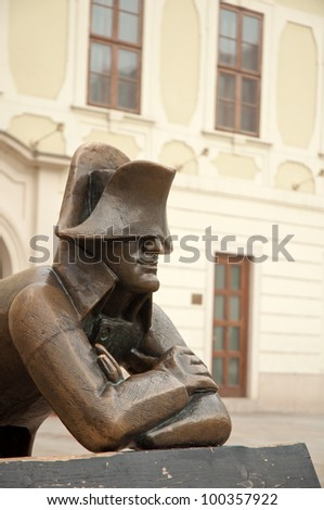 Napoleon bronze statue on Hlavne namestie (Main Square) in Bratislava, capital city of Slovak republic. - stock photo