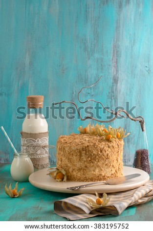Napoleon Cake decorated with physalis
