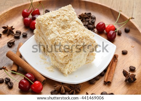 napoleon cake with cherries and spices
