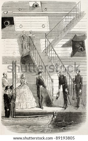 Napoleon III and empress Eugenie boarding on the Bretagne, old illustration. Created by Janet-Lange, published on L'Illustration, Journal Universel, Paris, 1858