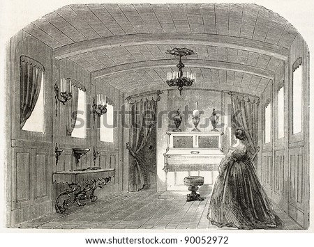 Napoleon III imperial yacht old illustration: empress private lounge. Created by Goddur after Yriarte, published on L'Illustration, Journal Universel, Paris, 1858 - stock photo