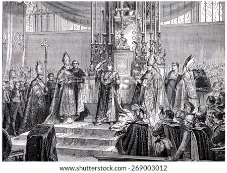 Napoleon raises the iron crown on his head, vintage engraved illustration. History of France 1885. - stock photo