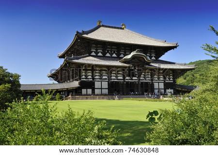 Nara Daibutsu todai-ji - famous Buddhism temple hiding the statue of the largest sitting Buddha statue in the world - stock photo