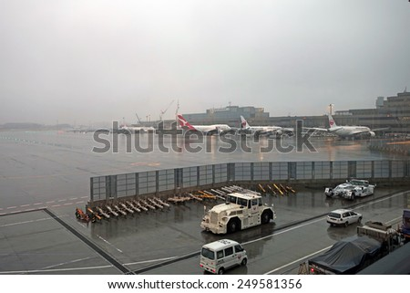 Narita, Japan - 28 January 2015 :Rainy day at Narita Airport,  formerly and originally known as New Tokyo International Airport, is the primary international airport serving the Tokyo Area of Japan.