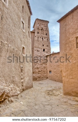 Narrow Ait Ben Haddou streets at Morocco - stock photo