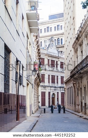 Narrow alley in the center of Havana, Cuba - stock photo