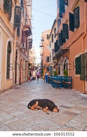 Narrow alley - Old Town, Corfu, Greece - stock photo