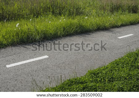 Narrow asphalt road with markings