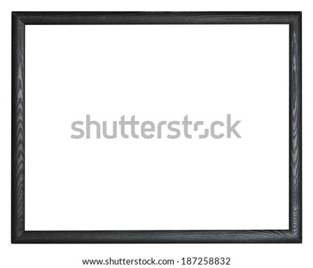 narrow black simple wooden picture frame with cut out canvas isolated on white background