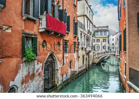 narrow canal in Venice, Italy - stock photo