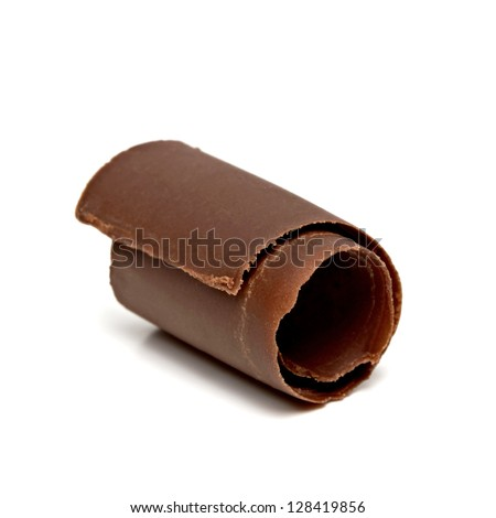 Narrow Chocolate Curl on white background - stock photo