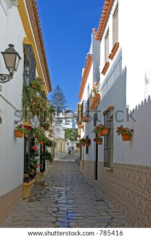 Narrow cobbled colourful back street with many flowers in Estepona Spain on the Costa del Sol