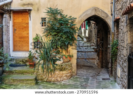 Narrow cobbled streets with flowers in the old village Lyuseram, France - stock photo