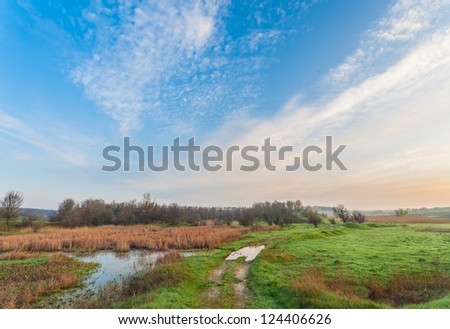 Narrow country road in the Ukraine along wetlands with yellow reeds and a fenced meadow - stock photo