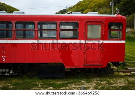 Narrow gauge diesel train of JAPAN. - stock photo