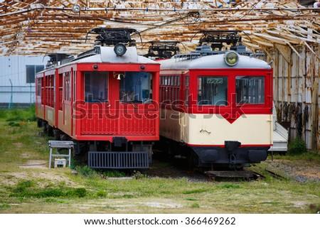 Narrow gauge electric train of?JAPAN. - stock photo