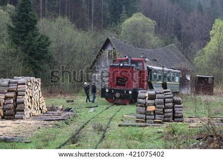 Narrow gauge railway Ukraine  - stock photo