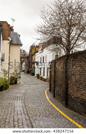 Narrow Houses London, Borough of Kensington and Chelsea,  UK - stock photo