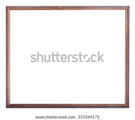 narrow painted wooden picture frame with cut out blank space isolated on white background - stock photo