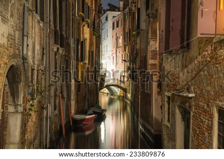 narrow passage in venice, san polo. Photo has been taken in the night time with long exposure technique - stock photo