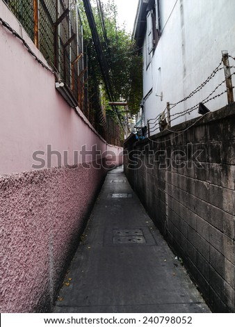 Narrow path in bangkok Thailand. - stock photo