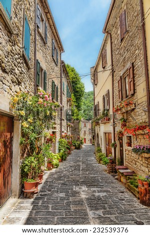 Narrow paved street in the old town in Italy - stock photo