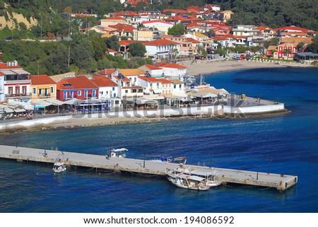 Narrow pier on Ioanian sea near Parga, Greece - stock photo