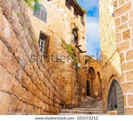 Narrow stone streets of ancient Tel Aviv, Israel - stock photo