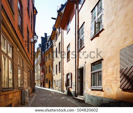 Narrow street in historic part of Oslo Norway. - stock photo