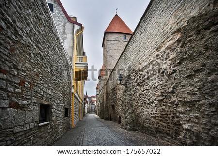 Narrow street in Old Tallinn - stock photo
