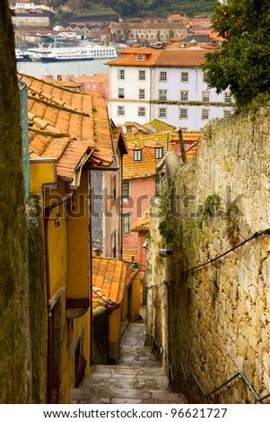 narrow street in old town, Porto, Portugal - stock photo