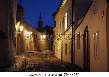 Narrow street in old town, Prague - Hradcany, Czech Republic - stock photo