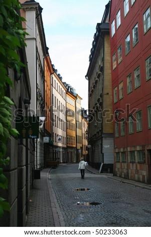 Narrow Street in Stockholm - stock photo