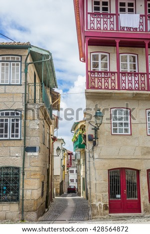 Narrow street in the historical center of Chaves, Portugal - stock photo