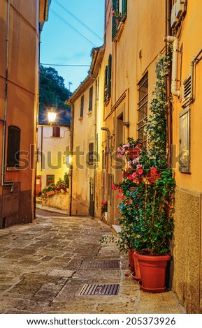 Narrow street in the old town at night in Italy - stock photo