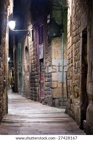 Narrow street in the Old Town, Barcelona - stock photo