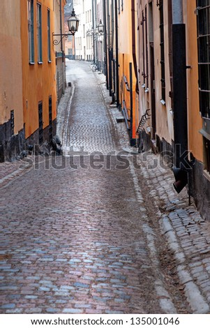 Narrow street in the old town of Stockholm, Sweden - stock photo