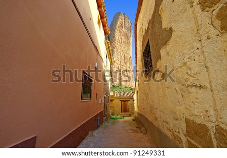 Narrow Street of a Medieval Spanish town, Overlooking the Rocky Foothills of the Pyrenees
