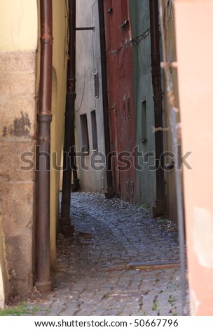 Narrow street of medieval town, Cheb - Czech Republic