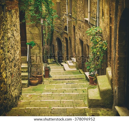 Narrow street of medieval tuff city Pitigliano with green plants and cobblestone stairs, travel Italy vintage  background - stock photo