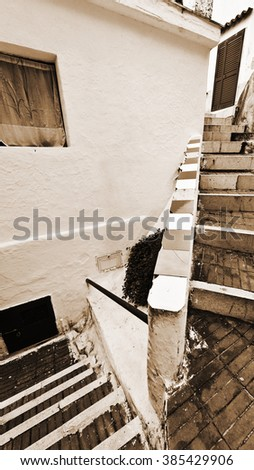 Narrow Street with Stairs in Italian City of Cetara, Vintage Style Sepia