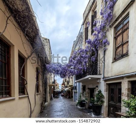 Narrow streets in Chania on Crete, Greece - stock photo