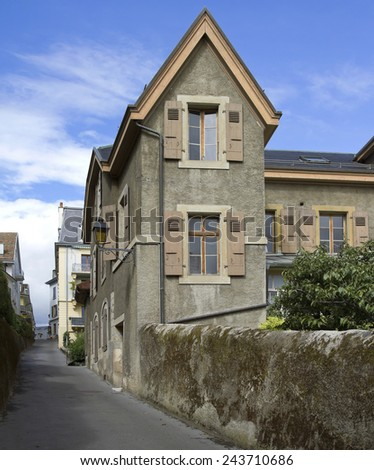 Narrow streets in old Nyon, Switzerland  - stock photo