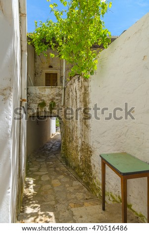 Narrow streets in the countryside of Naxos island, Cyclades, greece. Cycladic architecture.