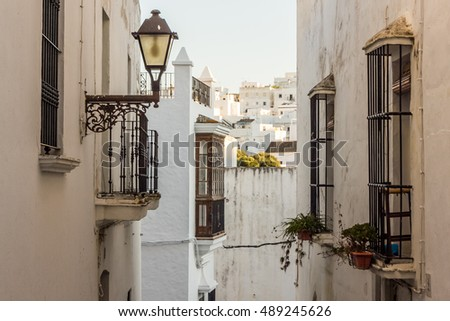 Narrow streets of a white village in Andalusia