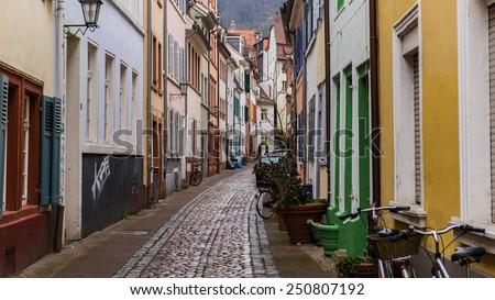 narrow streets of heidelberg's old city  - stock photo