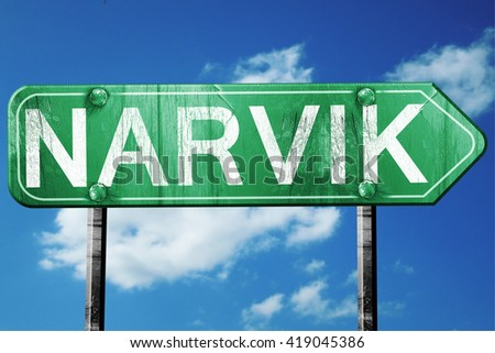 Narvik, 3D rendering, a vintage green direction sign