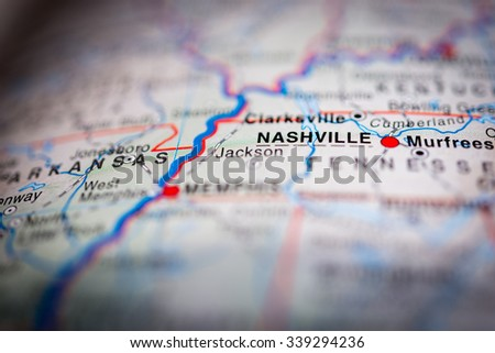 Nashville close up on map. Shallow depth of field. (vignette) - stock photo