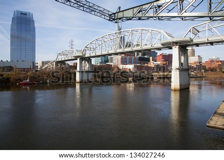 NASHVILLE - DECEMBER 01: Cumberland River with Shelby Street Bridge on December 01, 2012 in Nashville, Tennessee